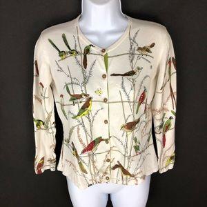 Cabi Women's White Bird Button Front Sweater S